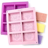 Rectangle Silicone Soap Molds - Set of 2 for 12 Cavities - Mixed Patterns - Soap Making Supplies by The Silly Pops