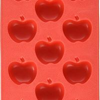 Fairly Odd Novelties Apple Shape Flexible 11-Ice Cube Tray, Silicone Novelty Gag Gift, Red