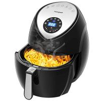 Air Fryer 5.8 Quart/5.5L/XXXL 1700w, homgeek Digital Air Fryer Touch Screen 7 in 1 with Cookbook for Family of 5 include Temperature Control, 60min Timer, Non-stick Dishwashable Basket