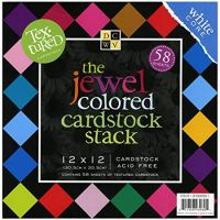 DCWV Cardstock Stack, Textured Jewel Colored, 58 Sheets, 12 x 12 inches