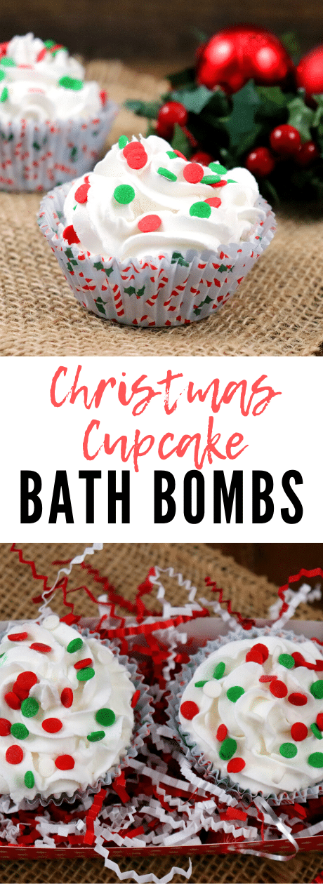 Christmas Cupcake Bath Bombs with Soap Frosting