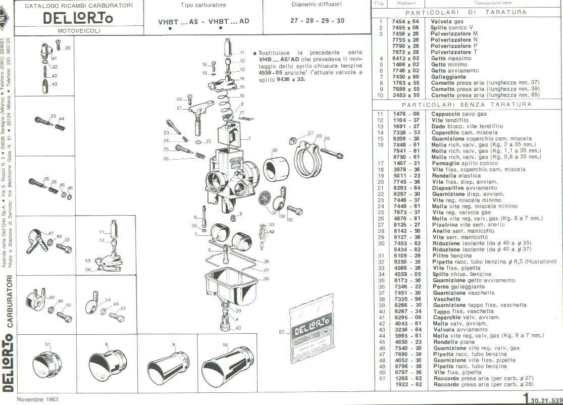 Parts Diagram For Dellorto Vhbt Carburetors