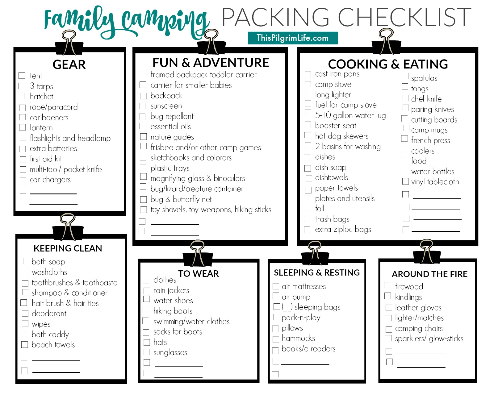Family Camping Packing List