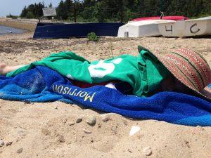 Sleeping child on beach