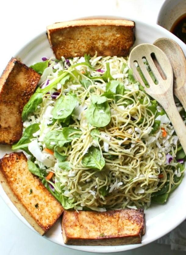 This Marinated Tofu & Edamame Spaghetti Salad is perfect for meal prep! | VEGAN + GF | ThisSavoryVegan.com