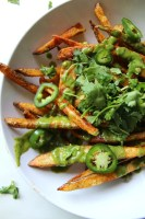 These Loaded Baked Fries with Cilantro Lime Dressing are the perfect snack | VEGAN + GF | ThisSavoryVegan.com