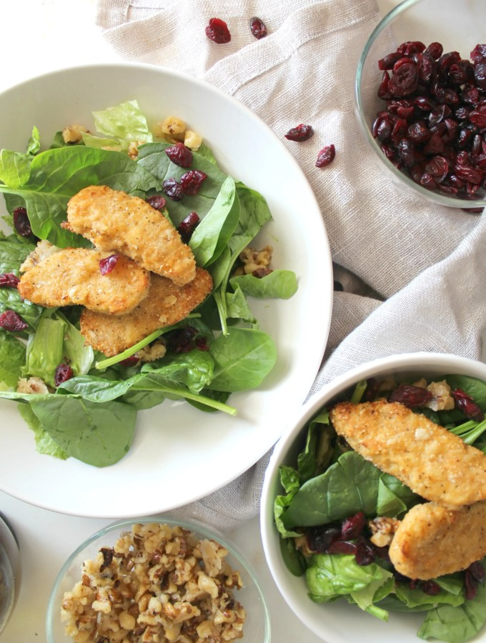 This Cranberry Candied Walnut Salad with Chick'n is the perfect vegan weeknight dinner - comes together in less than 30 minutes! | ThisSavoryVegan.com