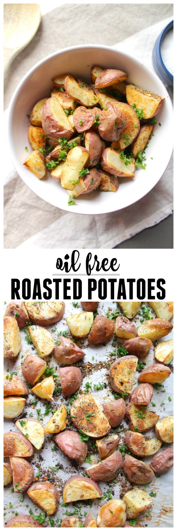 Get flavorful and crispy potatoes without any oil! | No Oil Roasted Potatoes | ThisSavoryVegan.com