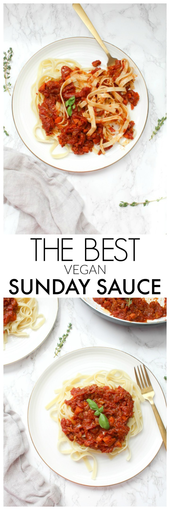 This Vegan Sunday Sauce is slow cooked on the stove all day long and is rich and flavor packed. The perfect Sunday dinner | ThisSavoryVegan.com #thissavoryvegan #pasta #vegansauce