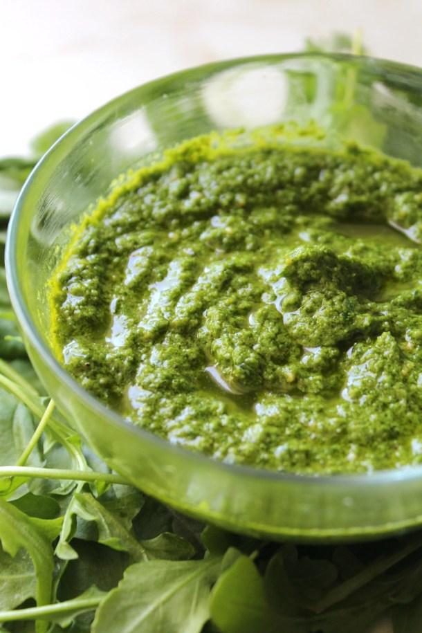 Arugula Basil Vegan Pesto | ThisSavoryVegan.com