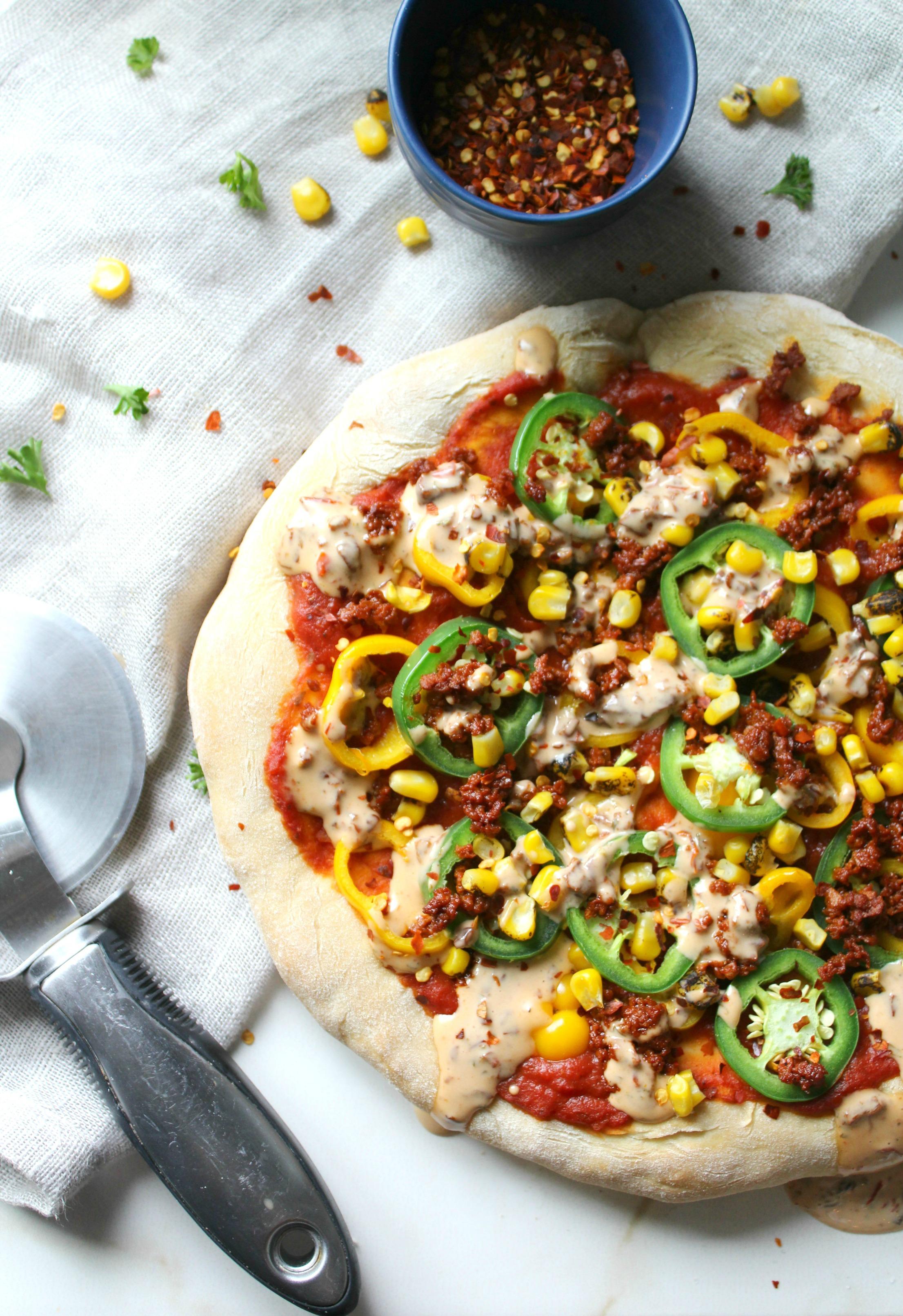 Soyrizo Pizza with Vegan Chipotle Ranch | No-Cheese | ThisSavoryVegan.com