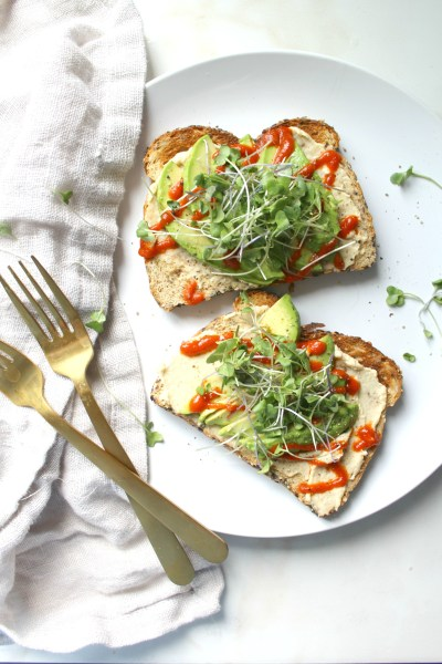 Avocado Hummus Toast with Microgreens | ThisSavoryVegan.com