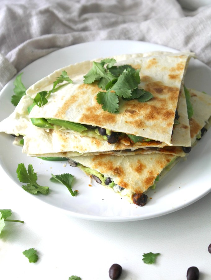 These vegan Avocado Black Bean Quesadillas are a healthy version of a take-out classic | ThisSavoryVegan.com