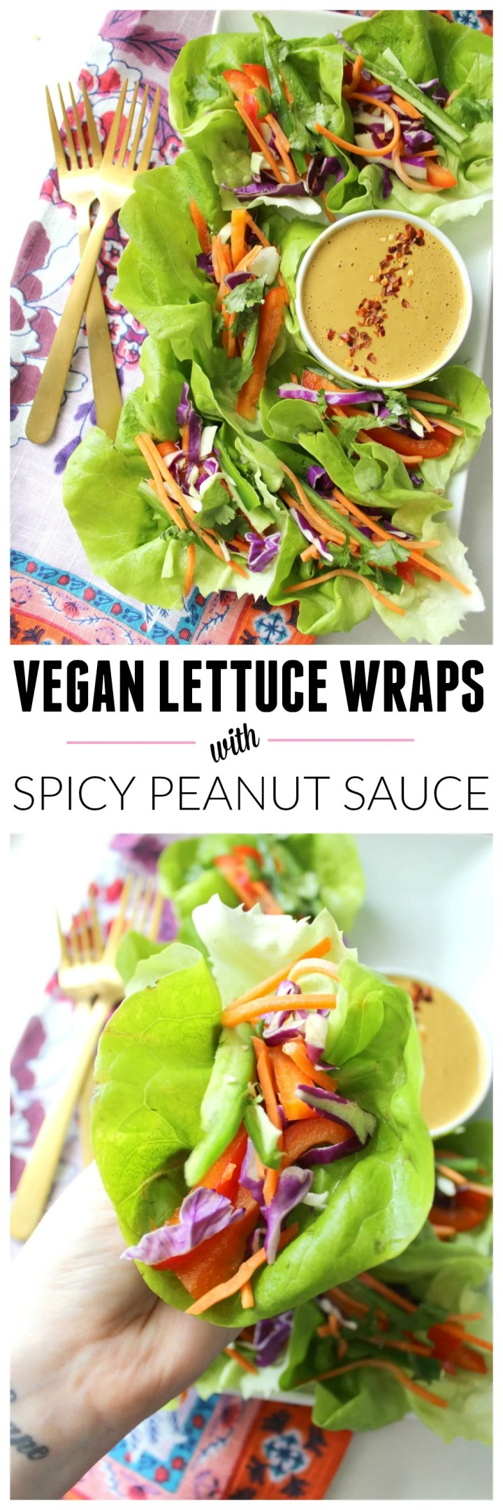Vegan Lettuce Wraps with Spicy Peanut Sauce | Vegan + GF + Raw | ThisSavoryVegan.com