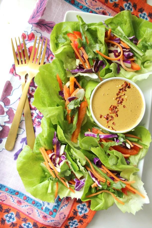 Vegan Lettuce Wraps with Spicy Peanut Sauce | Vegan + GF + Raw | ThisSavoryVegan.com