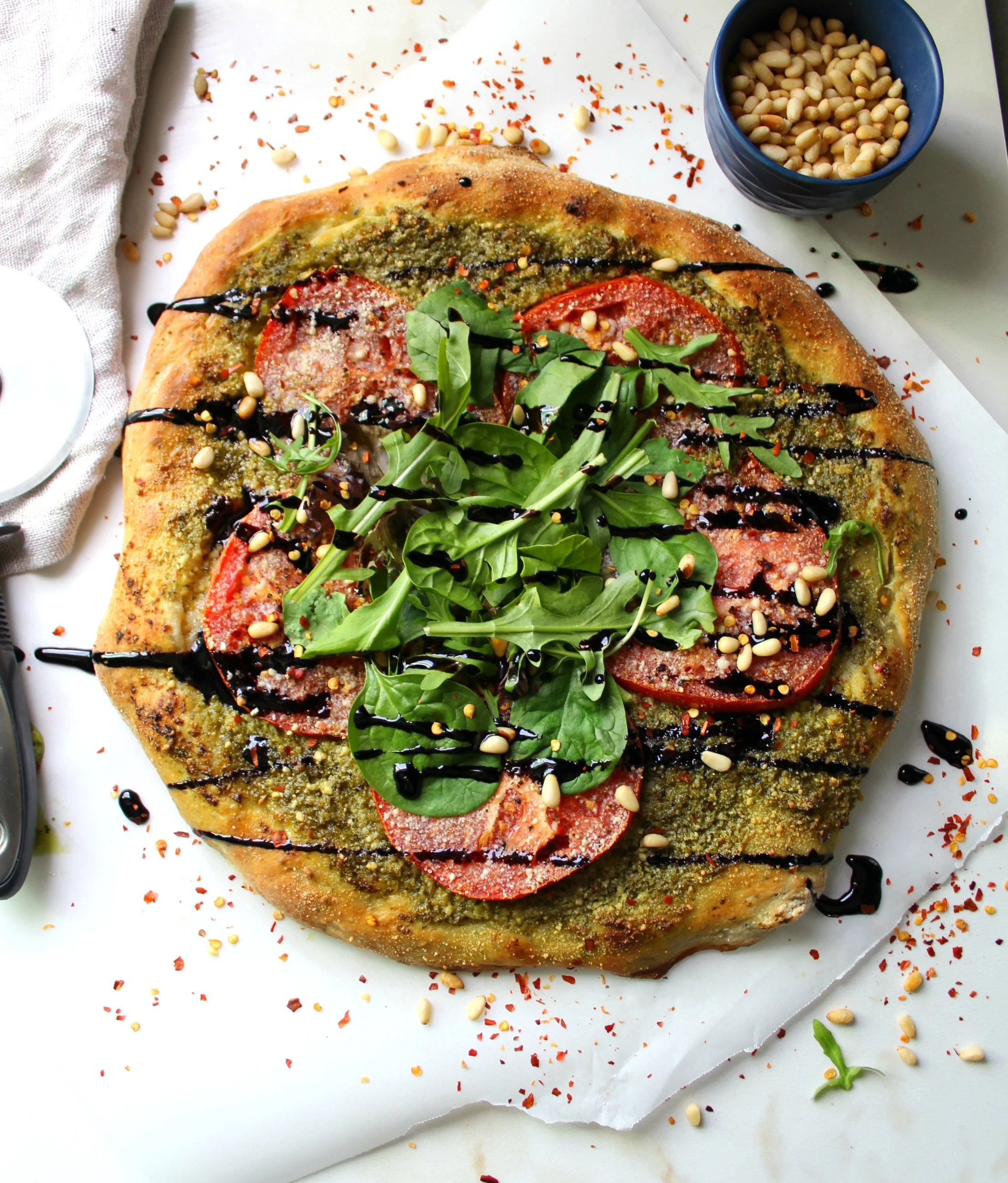 Vegan Pesto Pizza with Balsamic Glaze | ThisSavoryVegan.com