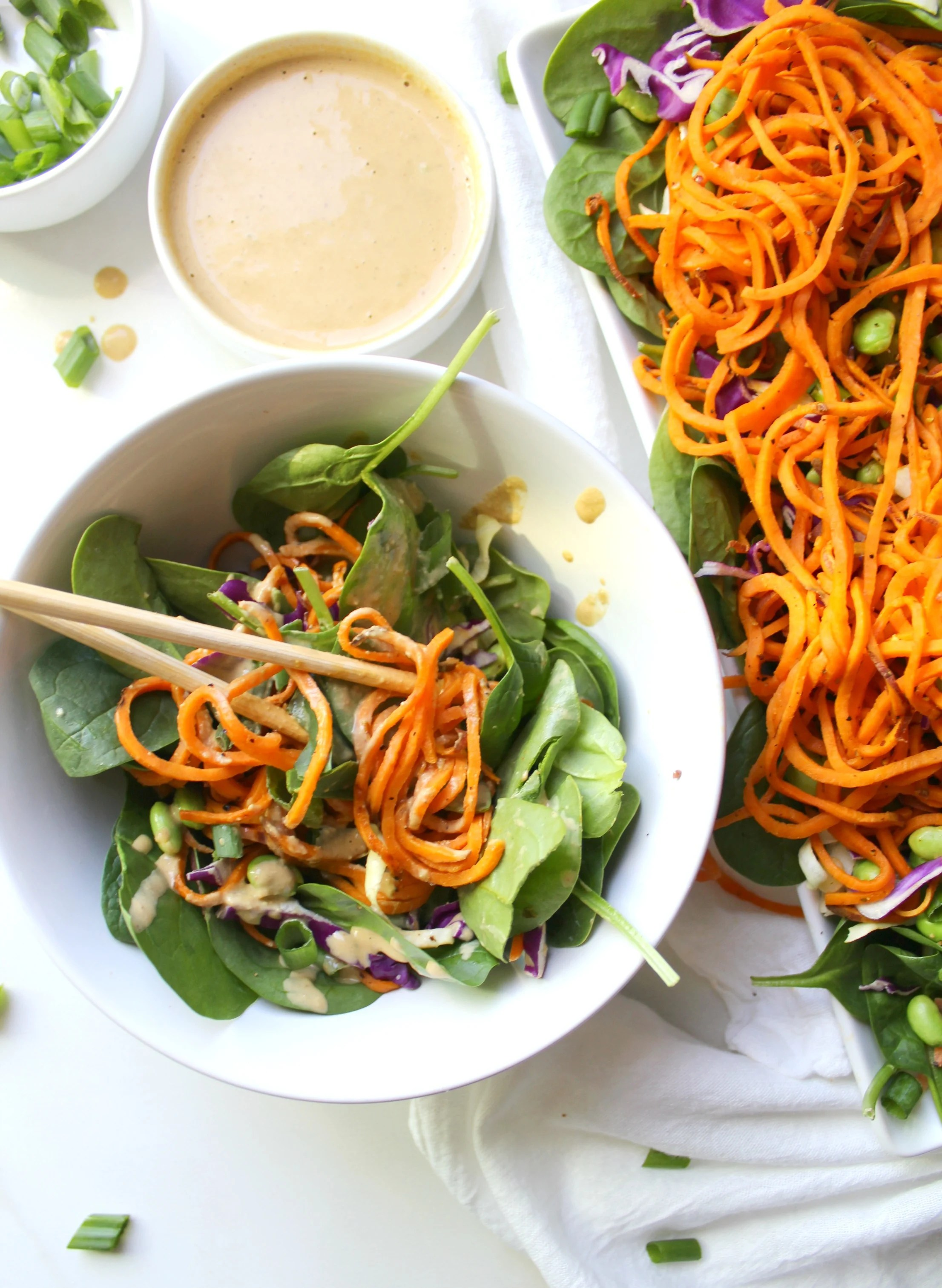 Sweet Potato Noodle Salad with Peanut Dressing | Vegan + GF | ThisSavoryVegan.com