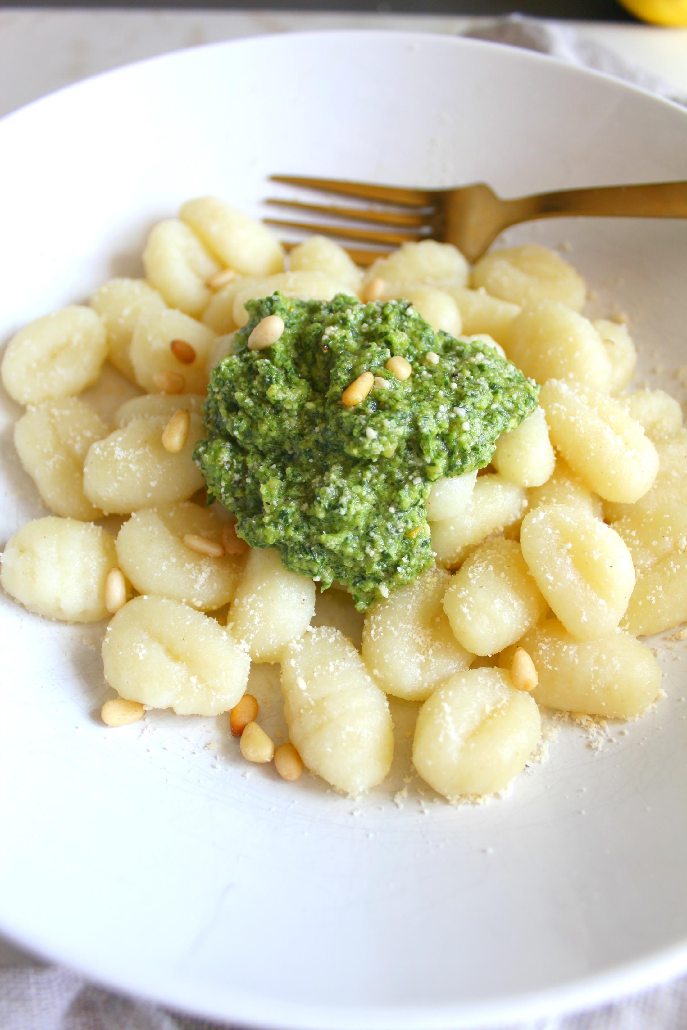 Simple Vegan Pesto Gnocchi   ThisSavoryVegan.com