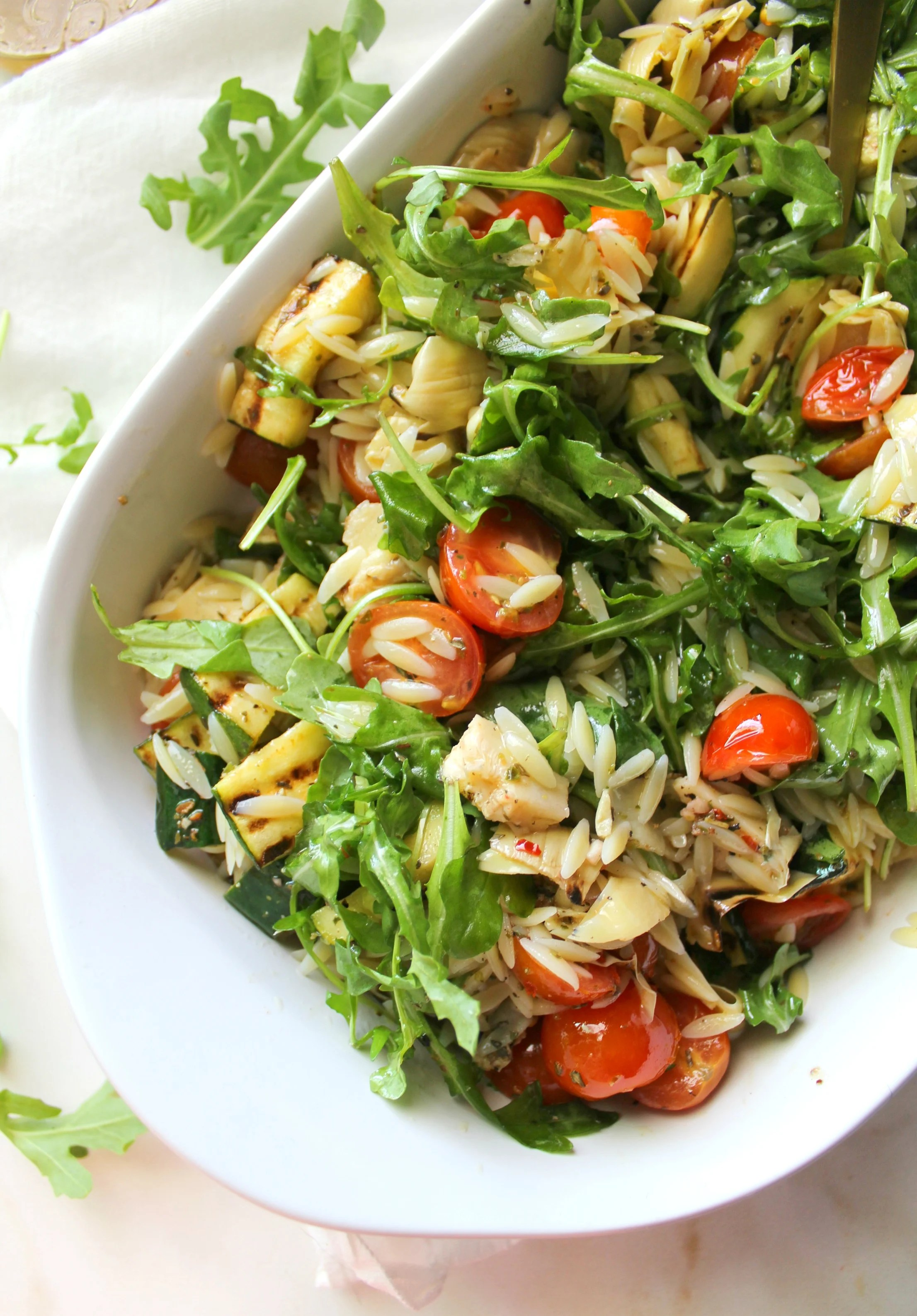 Vegan Orzo Pasta Salad with Grilled Veggies | ThisSavoryVegan.com