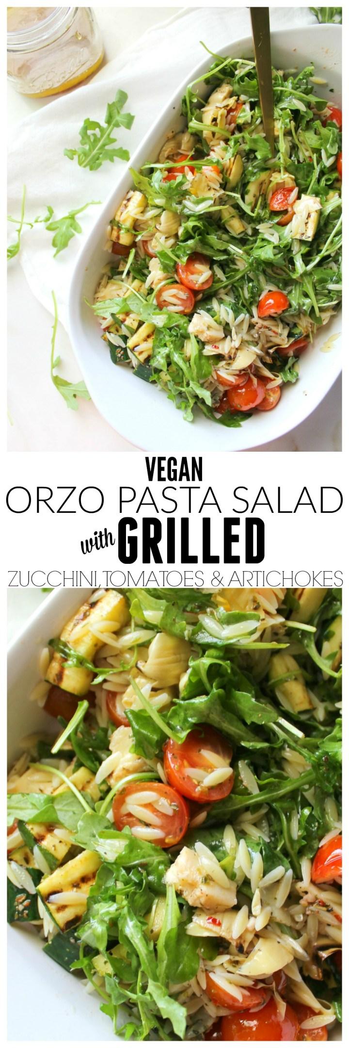 Vegan Orzo Pasta Salad with Grilled Veggies | ThisSavoryVegan.com