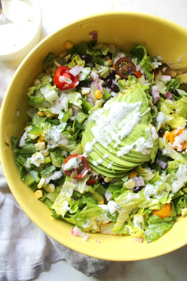 This Southwest Chopped Salad with Vegan Cilantro Ranch is perfect for Summer. A crowd pleaser that is ready in just 10 minutes! | ThisSavoryVegan.com