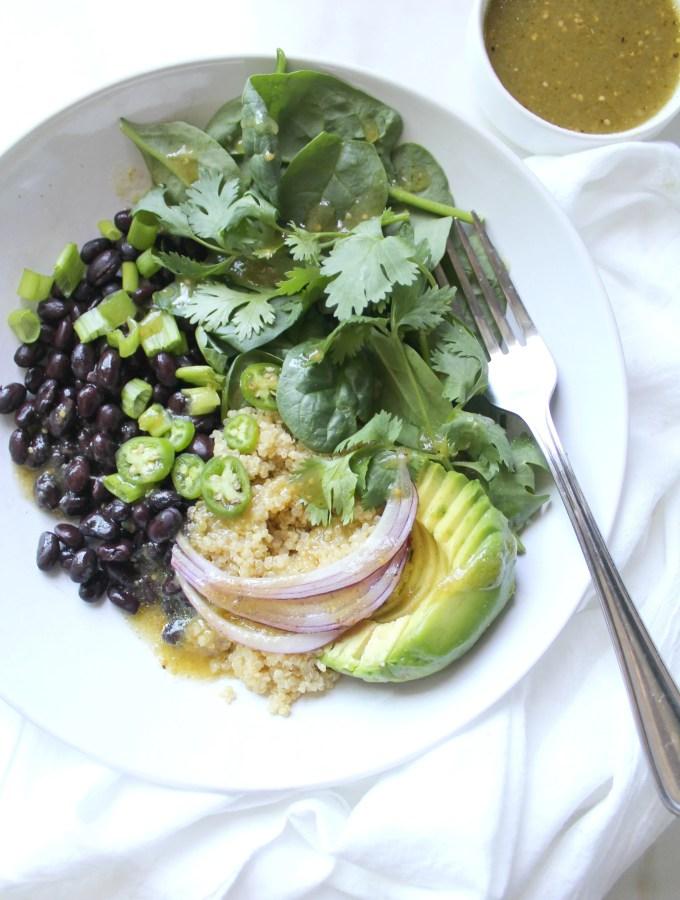 Black Bean Quinoa Buddha Bowls with Salsa Verde Vinaigrette