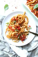 This Spicy Roasted Red Pepper Fettuccine is packed full of flavor and requires just 9 ingredients and 25 minutes to come together | ThisSavoryVegan.com