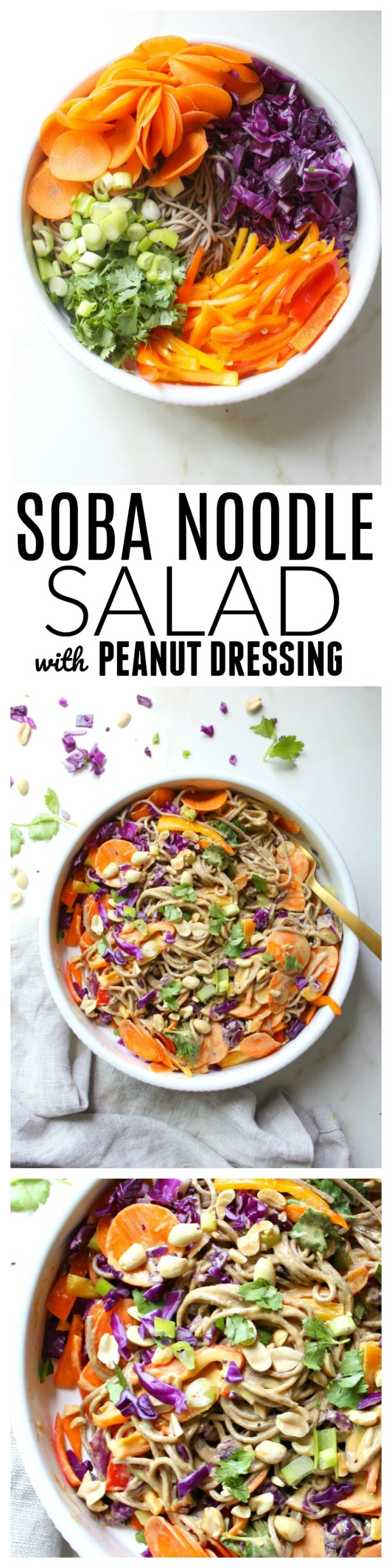 Keep dinner light and healthy with this Soba Noodle Salad with Peanut Dressing. Ready in less than 30 minutes and packed full of delicious veggies   ThisSavoryVegan.com