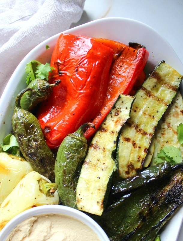 Take your next BBQ to the next level with this Grilled Veggie Platter. Tons of veggies are marinated in garlic & olive oil before being grilled to perfection | ThisSavoryVegan.com
