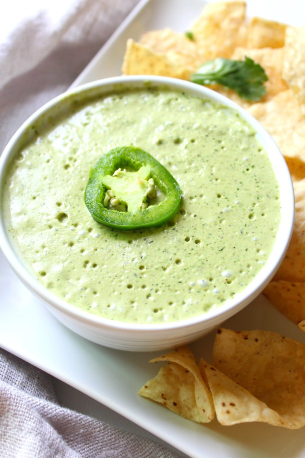 The perfect addition to tacos, nachos or enchiladas - this Vegan JalapeñoCream Sauce is packed full of flavor and heat | ThisSavoryVegan.com
