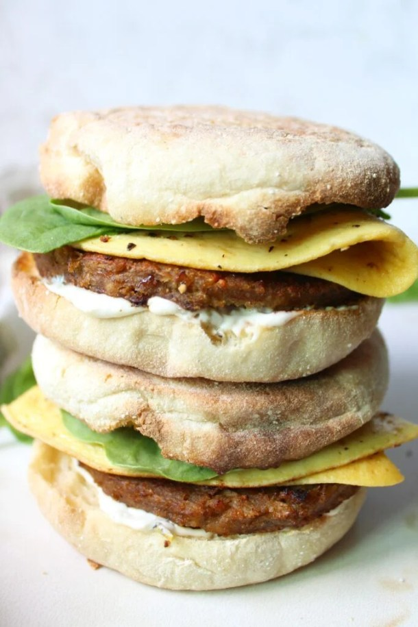 A simple and delicious take on a classic breakfast takeout meal - these really are The Best Vegan Breakfast Sandwiches around!   ThisSavoryVegan.com
