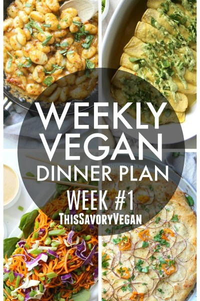 5 nights worth of vegan dinners to help inspire your menu. Choose one recipe to add to your rotation or make them all - shopping list included | ThisSavoryVegan.com #mealplan