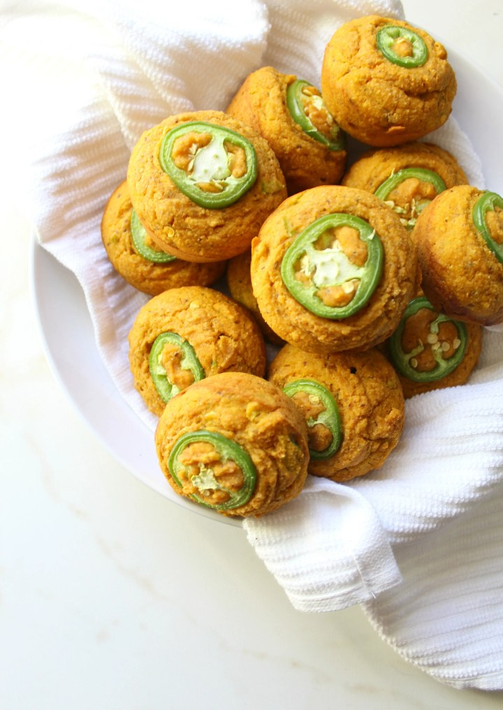TheseVegan Jalapeño Cornbread Muffins are the perfect combo of spicy and sweet. Serve with vegan butter for a delicious & savory side dish | ThisSavoryVegan.com #thanksgiving #vegan