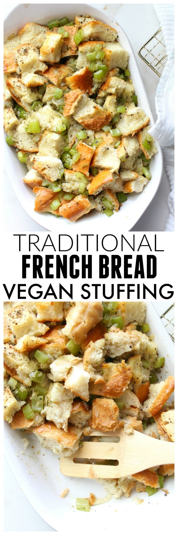 This Traditional French Bread Vegan Stuffing is easy to make and has all of the holiday flavors you've grown up loving but vegan-ized | ThisSavoryVegan.com #vegan #thanksgiving #veganthanksgiving