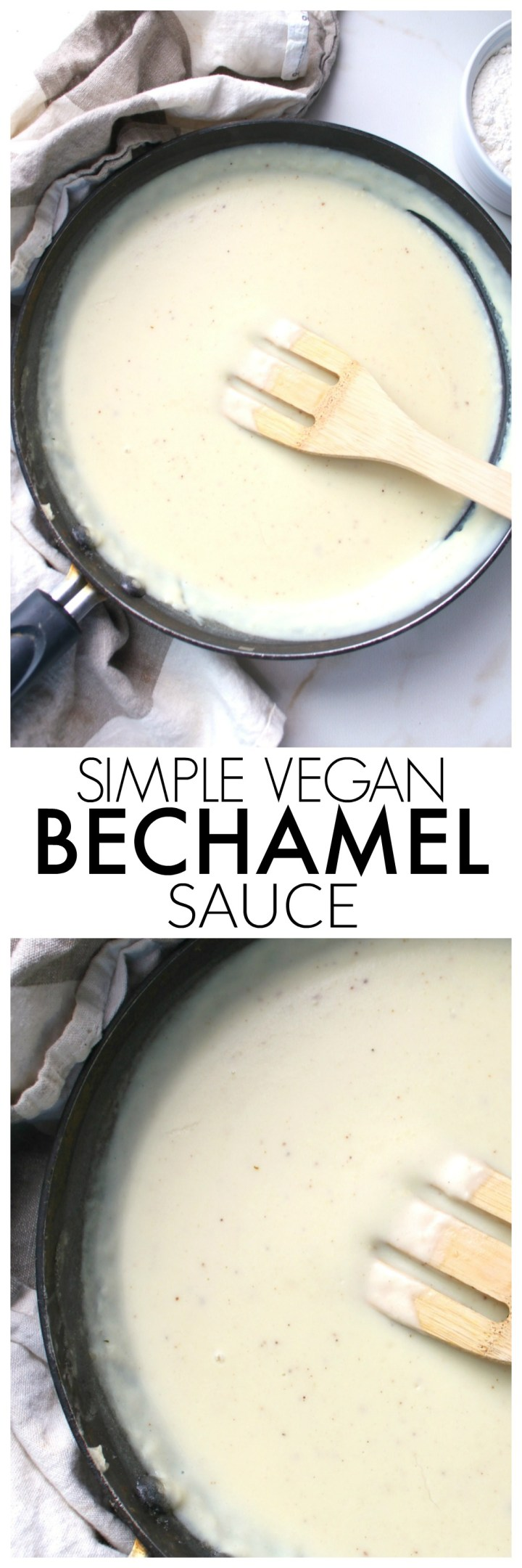A classic creamy white sauce is vegan-ized with thisSimple Vegan Bechamel Sauce recipe. The perfect base sauce for any pasta dish | ThisSavoryVegan.com #vegan