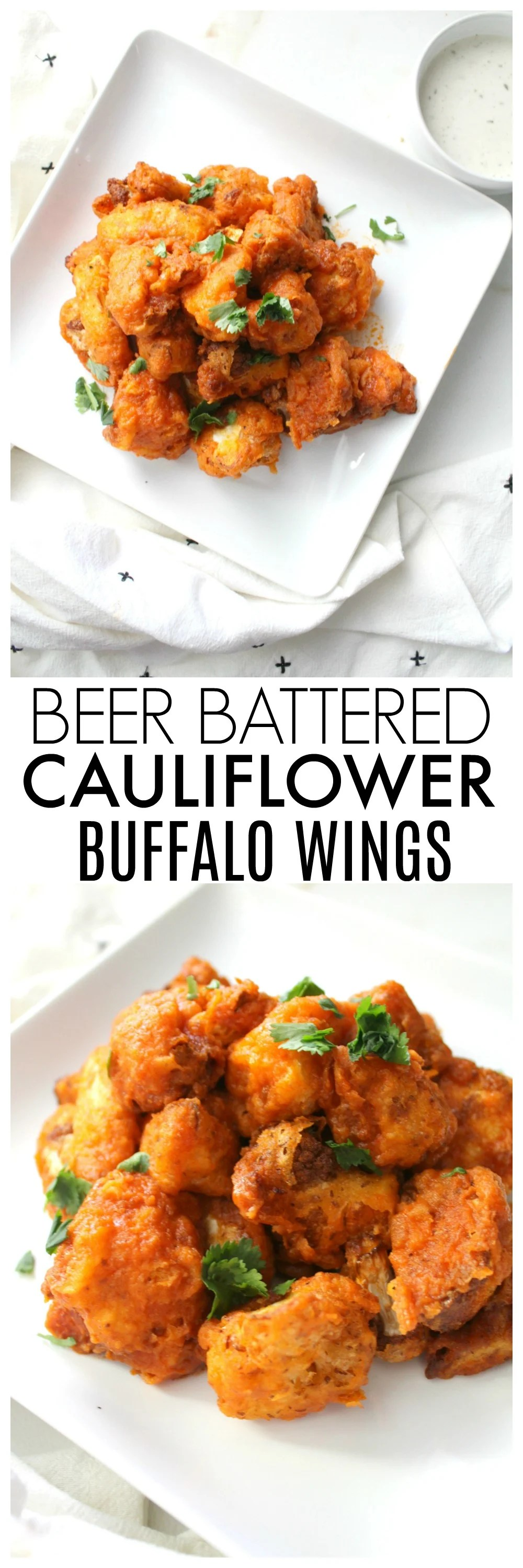 TheseBeer Battered Cauliflower Buffalo Wings are the perfect balance of spice and crunch. A vegan game day recipe that everyone will love!| ThisSavoryVegan.com #vegan #gameday