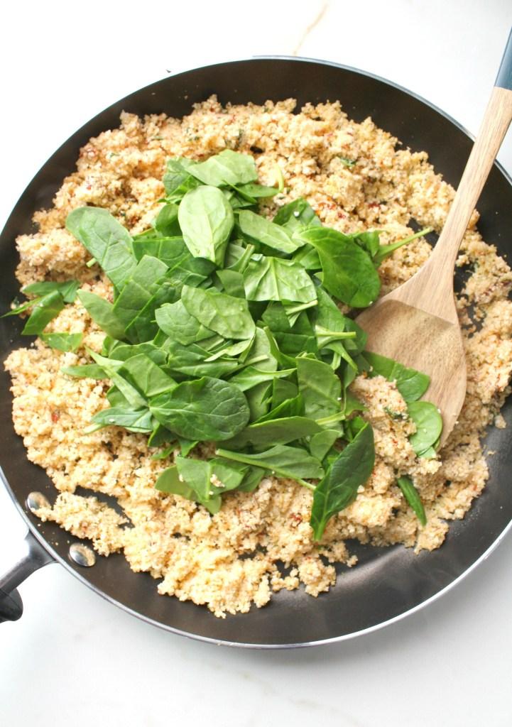 A light, easy and fresh dinner -Mediterranean Vegan Eggplant Roll Ups. A combination of seasoned cauliflower rice rolled up in grilled eggplant over marinara | ThisSavoryVegan.com #vegan #plantbased