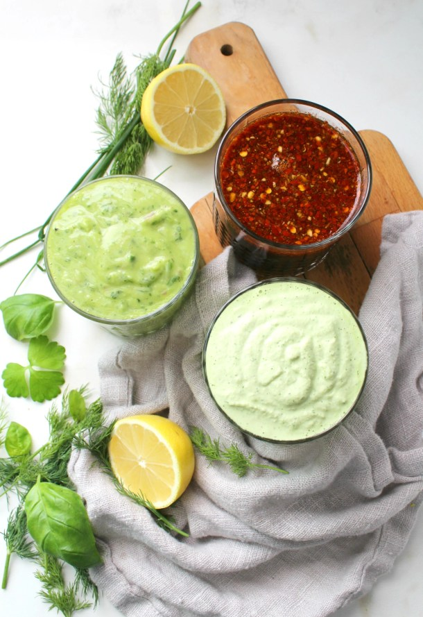 Perfect for salads or marinades, these3 Oil Free Vegan Dressings are packed full of fresh ingredients and lots of flavor | ThisSavoryVegan.com #vegan #vegandressing