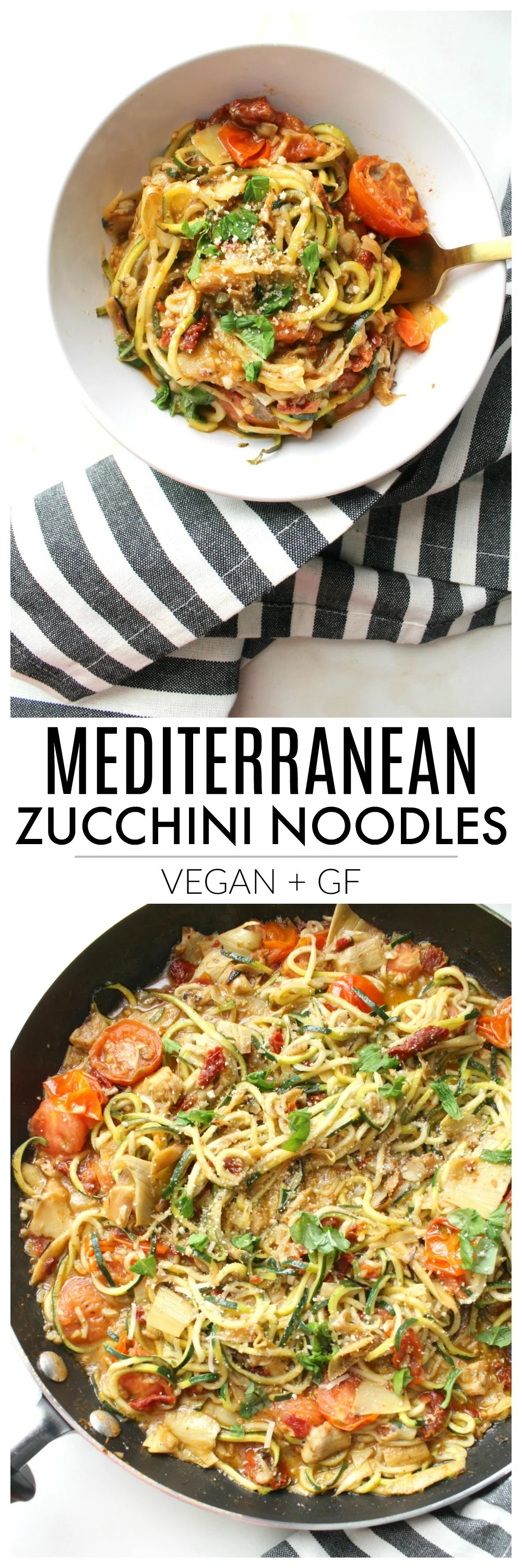 """Lighten up """"pasta night"""" with theseMediterranean Zucchini Noodles. A simple dinner recipe that combines cherry tomatoes, sun-dried tomatoes & artichoke hearts 