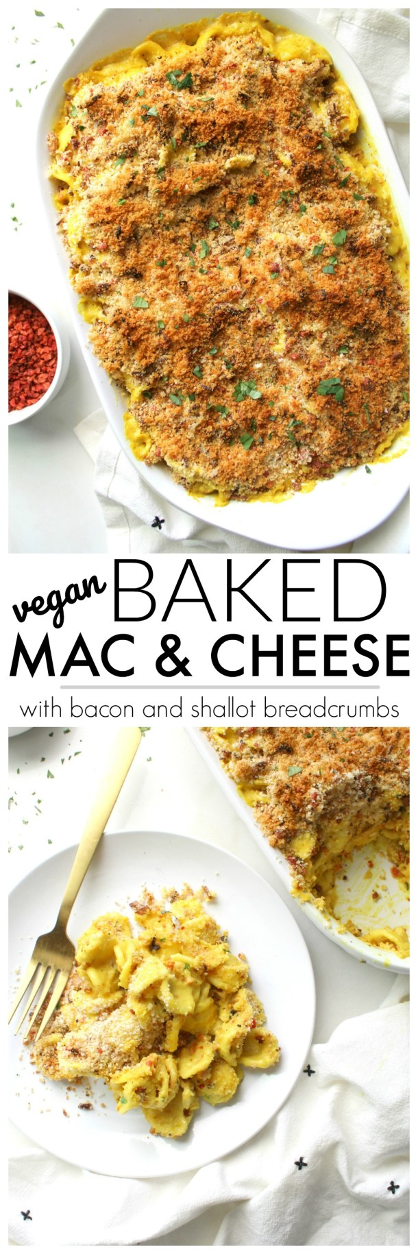 Creamy, decadent and topped with a bacon and shallot breadcrumb crust, this is the Best Baked Vegan Mac and Cheese.Ready in less than an hour! | ThisSavoryVegan #vegan #macandcheese