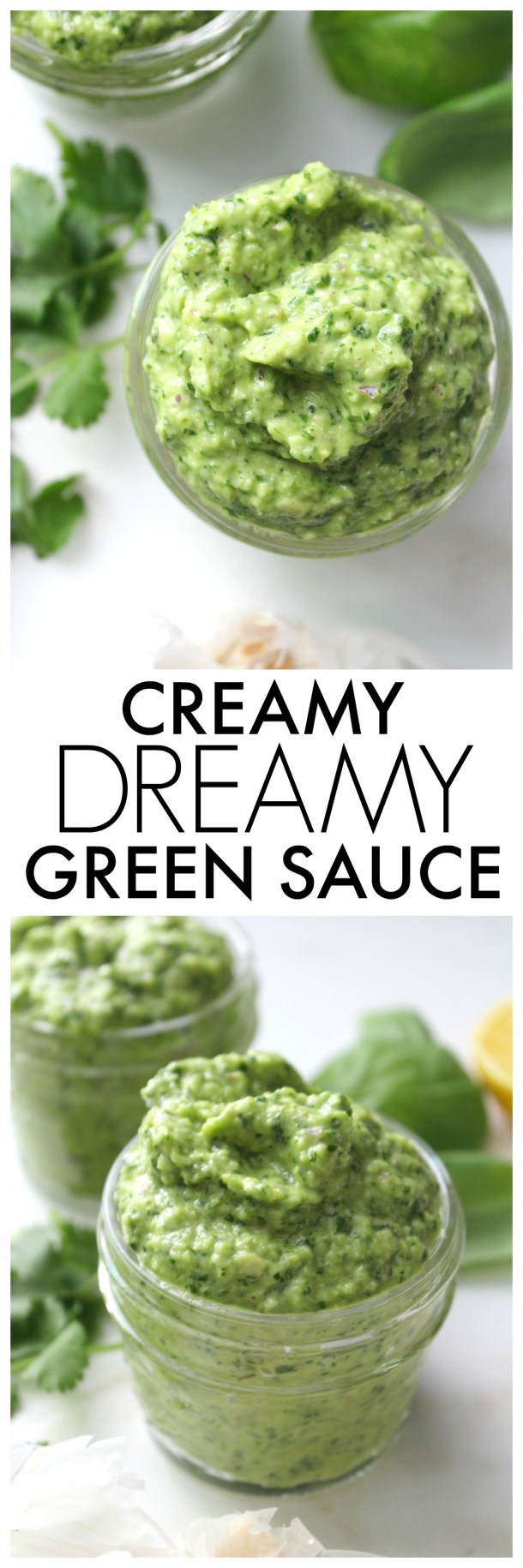 The perfect marinade, dressing or dip - this Creamy Dreamy Green Sauce is packed full of fresh herbs, avocado and a slight kick from jalapeño. Ready in 5 minutes | ThisSavoryVegan.com #sauce #dressing #vegan