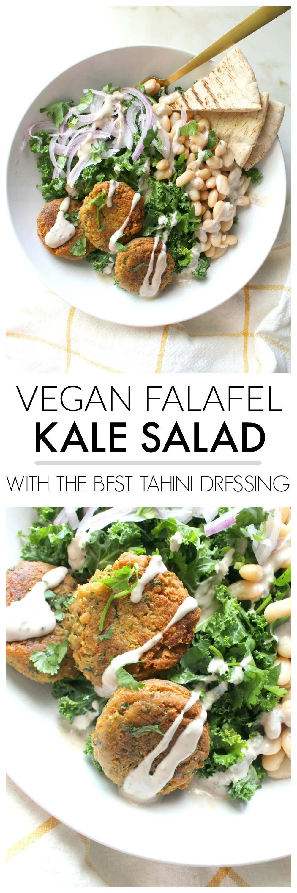 This Falafel Kale Salad with The Best Tahini Dressing is going to be your new go-to meal. Filled with healthy veggies, great flavors and a creamy oil-free dressing that is delish | ThisSavoryVegan.com #thissavoryvegan #healthy #salad