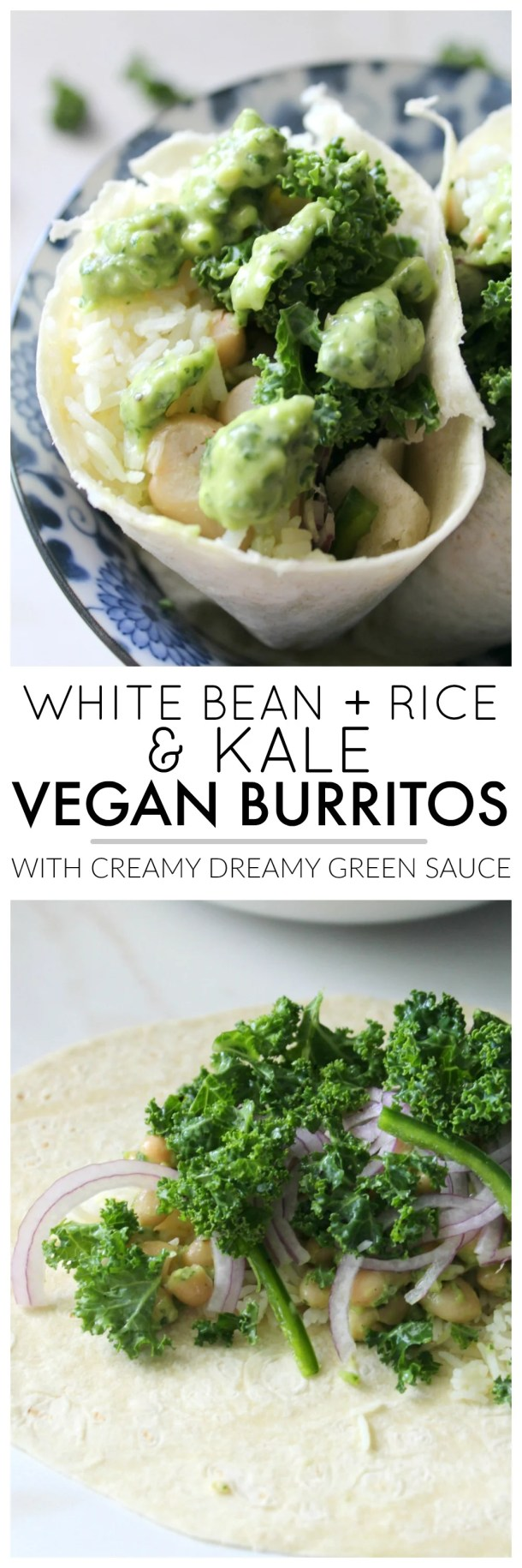These White Bean, Rice & Kale Vegan Burritos are the perfect meal on the go. Packed full of marinated kale, hot white rice and beans mixed with Creamy Dreamy Green Sauce. Both healthy and delicious   ThisSavoryVegan.com #thissavoryvegan #veganburrito #vegan