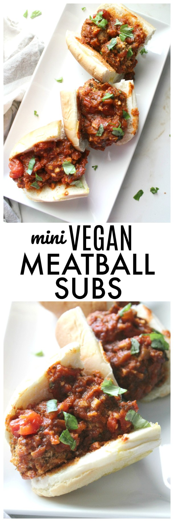 Cauliflower meatballs are tossed in a simple marinara sauce before being layered in toasted rolls to make these Mini Vegan Meatball Subs. Great for parties | ThisSavoryVegan.com #thissavoryvegan #veganmeatballs #kidfriendly