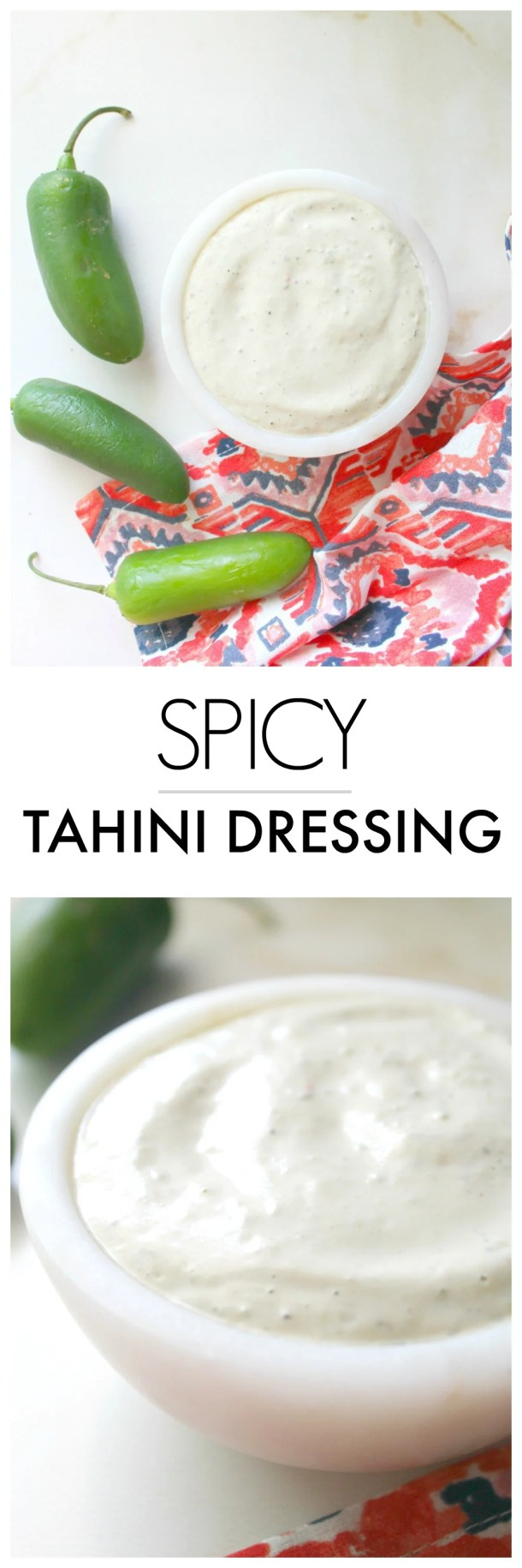 ThisSpicy Tahini Dressing is the perfect creamy addition to your favorite salads or bowls. With just the perfect amount of heat to give your dish a little kick | ThisSavoryVegan.com #thissavoryvegan #dressing #vegan