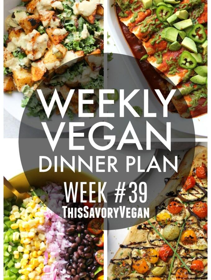 Weekly Vegan Dinner Plan #39