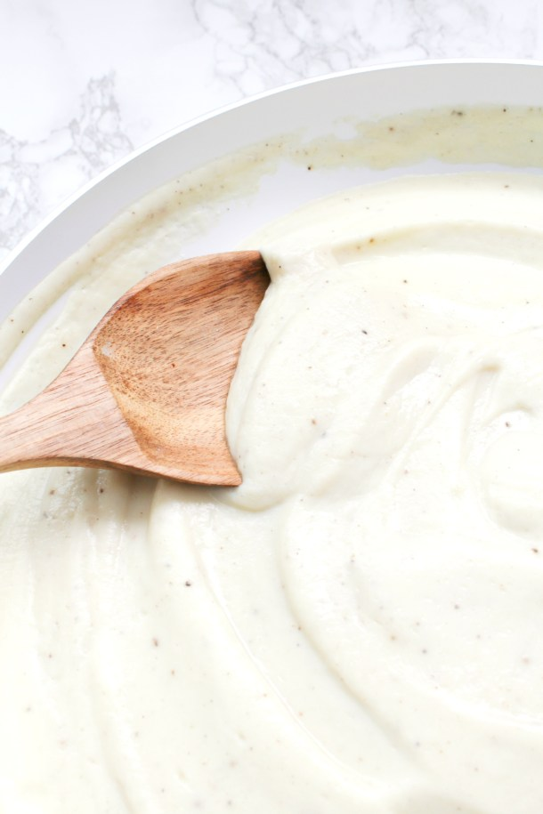 Move aside alfredo sauce, thisCreamy Vegan Cauliflower Sauce is about to bring health and comfort together in one recipe. Serve over your favorite pasta | ThisSavoryVegan.com #thissavoryvegan #veganalfredosauce