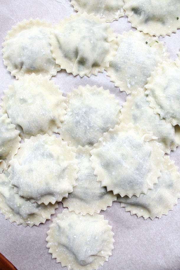 TheseSpinach Ricotta Vegan Ravioli are made easy by using pre-made wonton wrappers in place of pasta dough. Serve with your favorite sauce   ThisSavoryVegan.com #thissavoryvegan #veganravioli