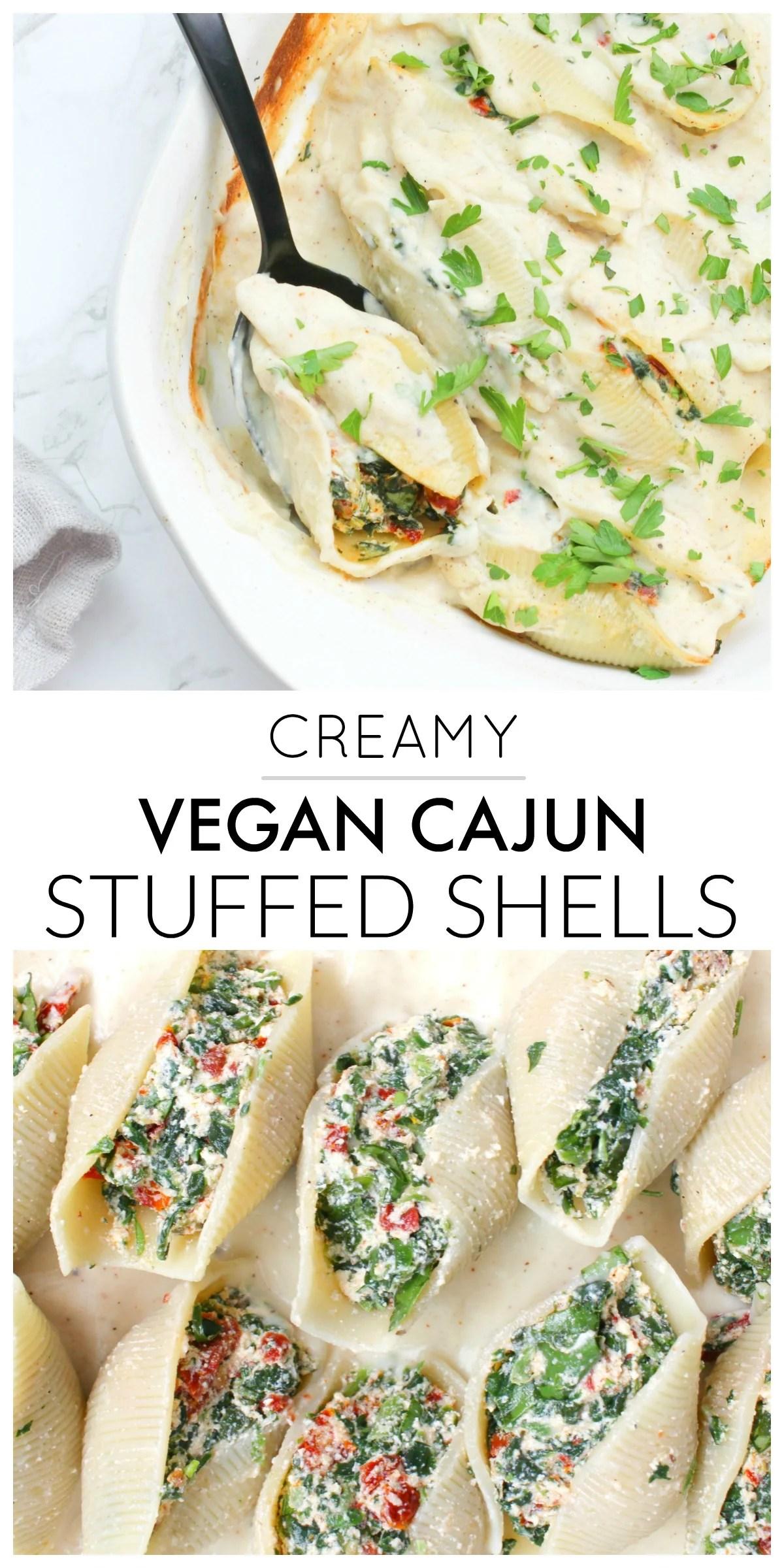 TheseCreamy Vegan Cajun Stuffed Shells are the ultimate casserole dinner. Lightened up by using cauliflower cream sauce and a tofu ricotta | ThisSavoryVegan.com #thissavoryvegan #vegancasserole