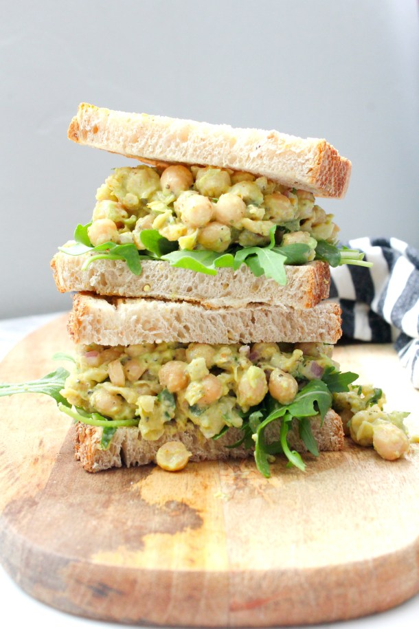 Spice up your next lunch with these Curried Chickpea Salad Sandwiches. The perfect amount of creaminess and spice on toasted sourdough | ThisSavoryVegan.com #thissavoryvegan #veganlunch